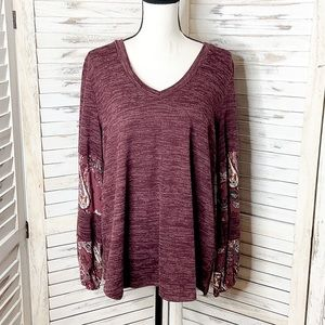 PROMESA | Paisley Balloon Sleeve V neck Maroon Top